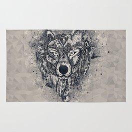 Geometric Wolf Mandala Rug