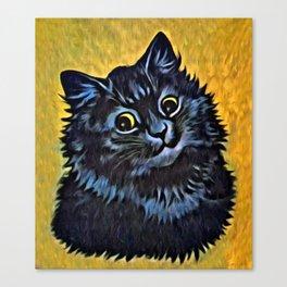 Louis Wain's Cats - Black Cat Canvas Print