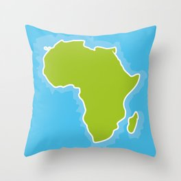map of Africa Continent and blue Ocean. Vector illustration Throw Pillow