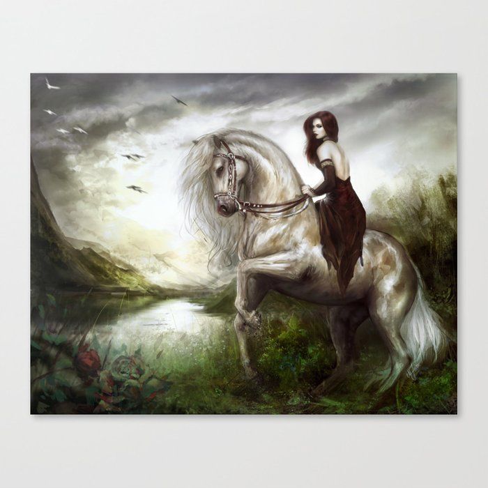 Morning welcome - Royal redead girl riding a white horse Canvas Print