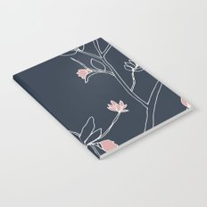 Flora, White and Pink on Navy Blue Notebook