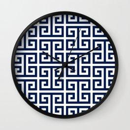 Dark Navy Blue and White Greek Key Pattern Wall Clock