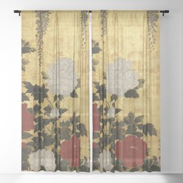 Vintage Japanese Floral Gold Leaf Screen With Wisteria and Peonies Sheer Curtain