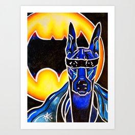 Dobie Bat man Original Design Painting Dog Pet Doberman Pinscher Superhero Hero Super Black Yellow Art Print
