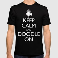 Keep Calm & Doodle On (Red) Black MEDIUM Mens Fitted Tee
