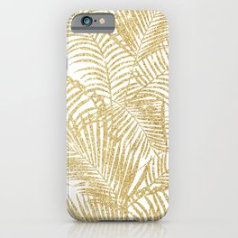 Elegant faux gold glitter tropical plants pattern iPhone Case