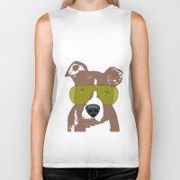 bull terrier Biker Tanks featuring American Pit Bull Terrier by ialbert