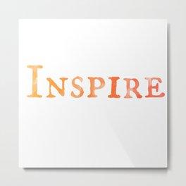 Inspire in Orange Watercolor Metal Print