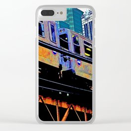 Chicago 'L' in multi color: Chicago photography - Chicago Elevated train Clear iPhone Case