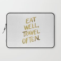 Eat Well Travel Often on Gold Laptop Sleeve