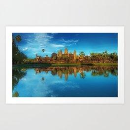 Sky Blue Day at Angkor Wat Buddist Temple, Cambodia by Lor Teng Huy Art Print