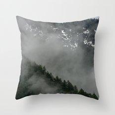 Snow Fog Mountain Olympic National Park foggy forest trees travel love adventure wild america sky 5 Throw Pillow