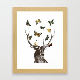 The Stag and Butterflies Framed Art Print