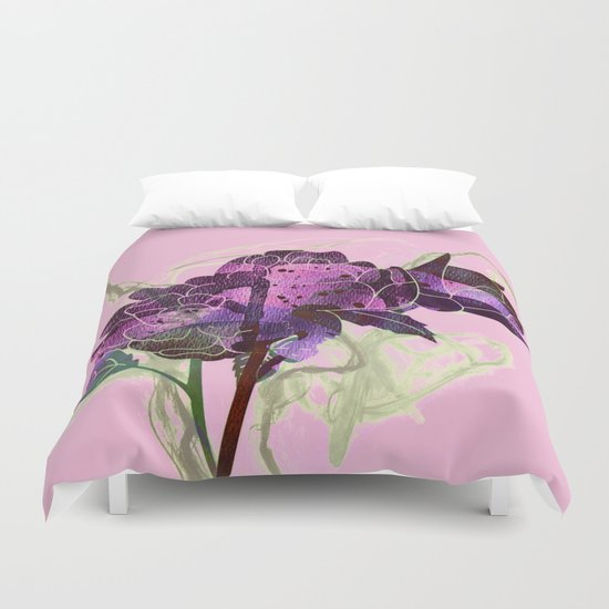abstract bouquet pink purple Duvet Cover
