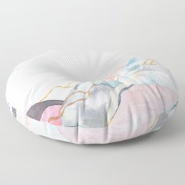 Abstract painted landscape of mountains Floor Pillow