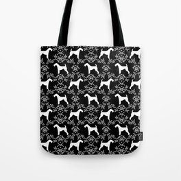 Airedale Terrier silhouette florals dog pattern pet art minimal black and white Tote Bag