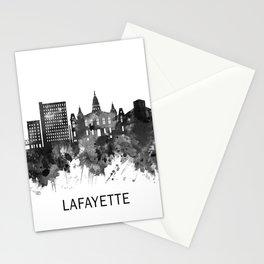 Lafayette Louisiana Skyline BW Stationery Cards
