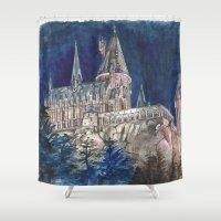 hogwarts Shower Curtains featuring Hogwarts Painting  by Christina Brunnock