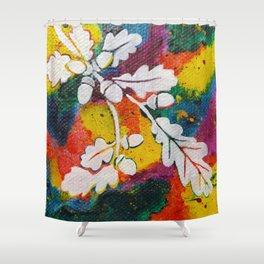 Leaves on the World Tree: Bulgarian Granit Oak Shower Curtain