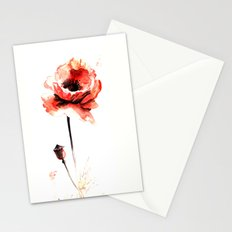 watercolor poppy Stationery Cards