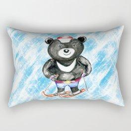 Bear on ski Rectangular Pillow