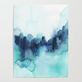 Wonderful blues Abstract watercolor Poster