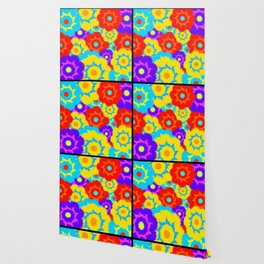 Multi-colored furry flowers. Exotic abstract colors for background or pattern Wallpaper