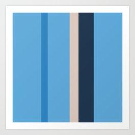 A tremendous integration of Dust Storm, Space Cadet, Dark Sky Blue and Green-Blue (Crayola) vertical stripes. Art Print