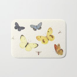 Vintage Butterfly Illustration - Yellow Bath Mat