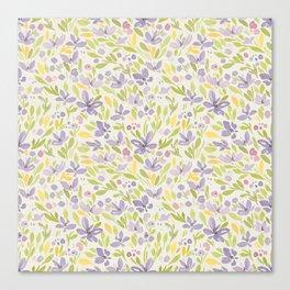 Floral watercolor purple pattern 6 Canvas Print
