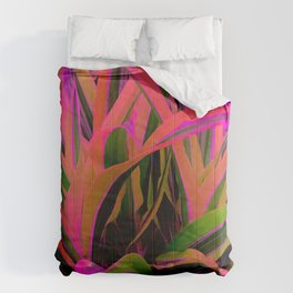 Exotic, Lush Passionate Pink and Green Leaves Comforters