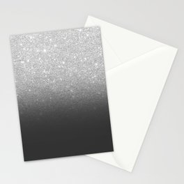 Modern faux silver glitter ombre grey black color block Stationery Cards