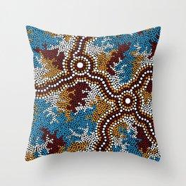 Authentic Aboriginal Art - Wetland Dreaming Throw Pillow