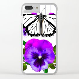 WHITE MONARCH BUTTERFLY & PURPLE PANSIES Clear iPhone Case
