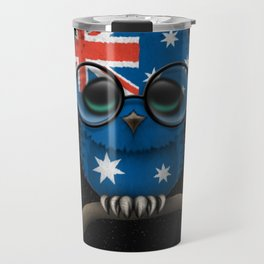 Baby Owl with Glasses and Australian Flag Travel Mug