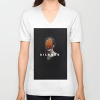 silence of the lambs V-neck T-shirts featuring Silence by Frank Moth