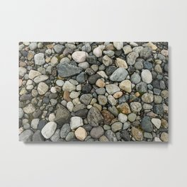 Set of round gray stones called boulders. Metal Print
