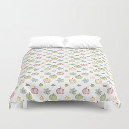 Pumpkin Pattern on White Background Duvet Cover