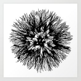 Make A Wish Dandelion Vector In Black Art Print