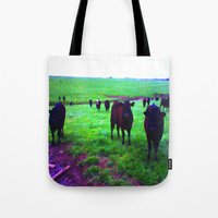 cows Tote Bags featuring Cows by 13th Moon Social Club
