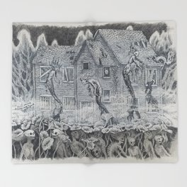 Lotus Teeth (collaboration with Kevin Newell of Evergreen Illustration) Throw Blanket