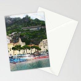 Beach umbrellas by the Amalfi beach Stationery Cards