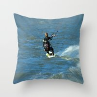 surfer Throw Pillows featuring Surfer by Laake-Photos