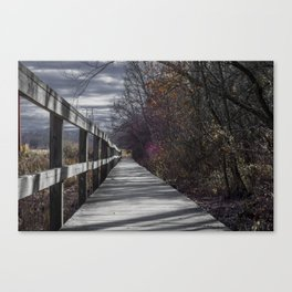 Extended wooden foot bridge through the forest Canvas Print