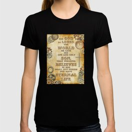 Steampunk Bible Verse For God So Loved the World T-shirt