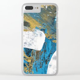 Teal Abstract Clear iPhone Case