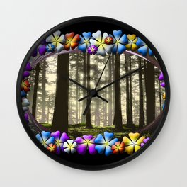 WOODLAND MISTS AND FLOWERS Wall Clock