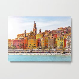 Old village of Menton French Riviera in summer Metal Print