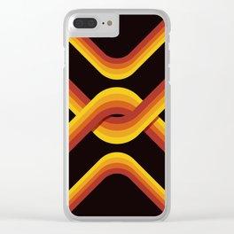 Retro Stripe Dark Clear iPhone Case