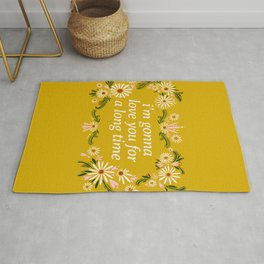 Maggie Rogers Quote Floral Drawing  Rug